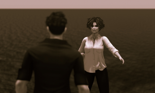 selenium toned photo of 2 avatars on a platform with the ocean behind them