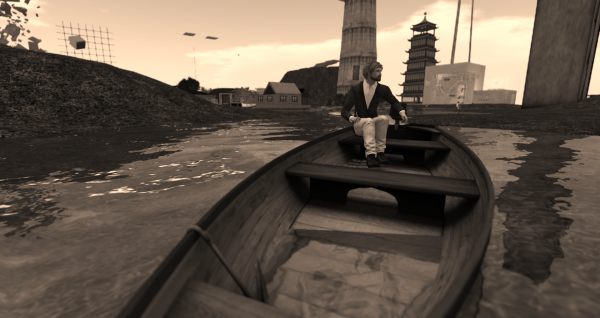 Klaus Bereznyak in a boat at the College of Avatar Architecture at LEA1
