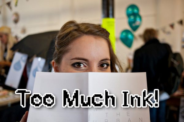 "type sample of the font ""Too Much Ink"" designed by Cake"