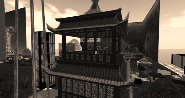 Elizabeth Taylor Swift stands on the deck of a tall pagoda with a busy virtual world skyline behind her