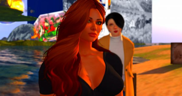 """Ravensong Merlin & Vanessa Blaylock on the beach at Love Beach at LEA1, in Second Life. LEA1 is an LEA """"core sim"""" on an Artist in Residence Land Grant from the Linden Endowment for the Arts."""