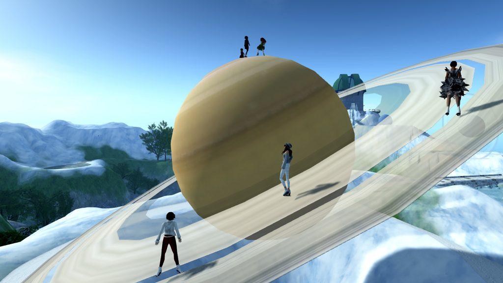 avatars ice skating on the rings of saturn