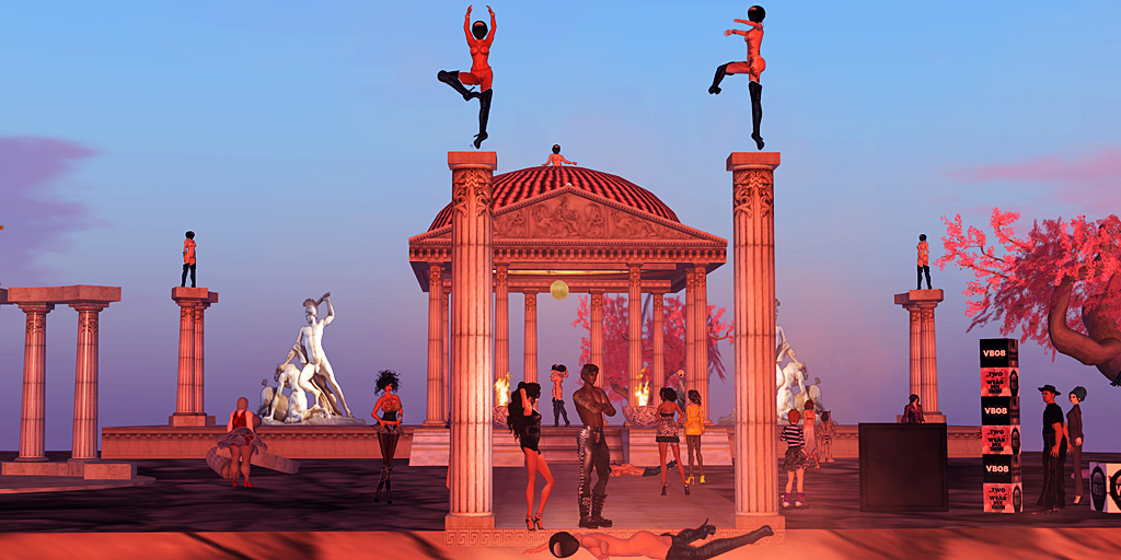 Masked avatars perform a tableaux vivant at an Ancient Greek temple