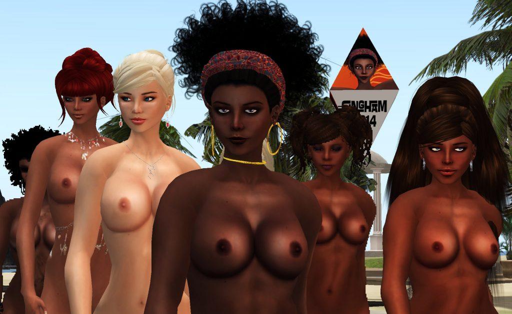 avatars stand in the courtyard of Carina Larsen's fashion mall Amacci
