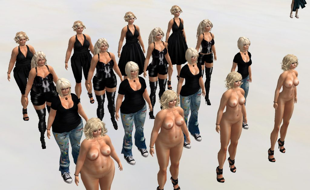 """overhead photograph from the 2nd floor balcony at Eostara's Contemporary Art looking down at the VB15 performance. 16 avatars in a 4x4 grid take on the body image variations of Gracie Kendall the avatar and Kristine Schomaker her """"typist."""" Across the tableaux vivant the body image changes from anorexic to obese and down the rows of avatars the dress changes from artist to evening wear to naked."""