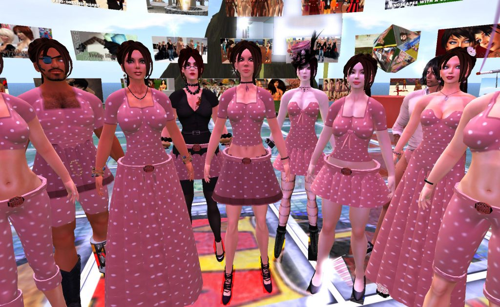 """A large group of avatars stand in a circle. They all wear variously modified versions of the iconic Second Life """"Girl Next Door"""" noob avatar dress."""