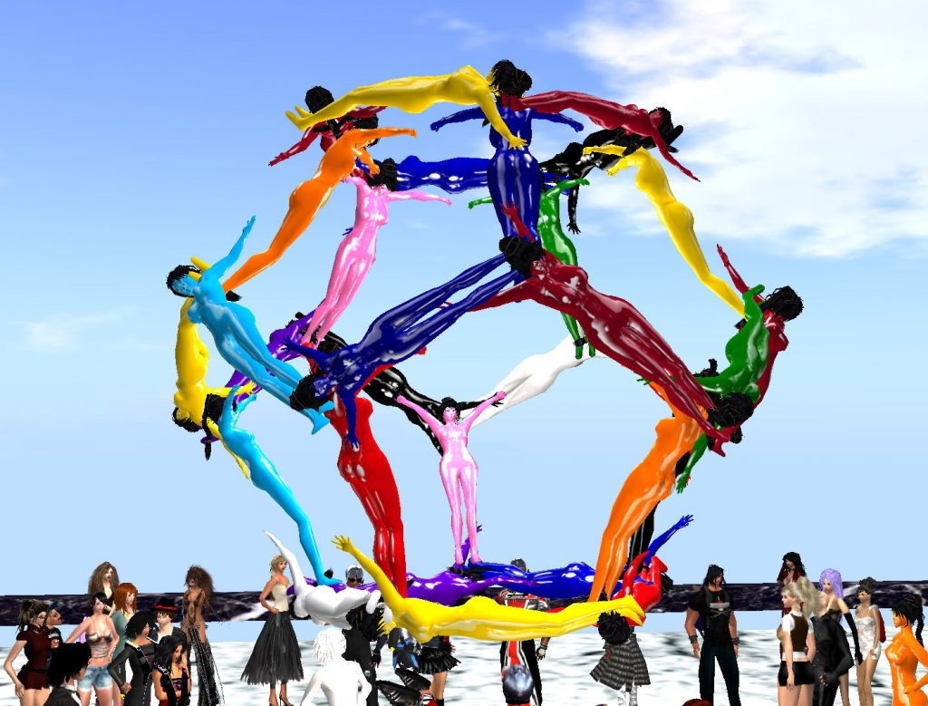 30 avatars in multicolored unitards (latex catsuits) brace their arms and legs to each other and form a human dodecahedron. Each person forms one of the 30 sides of the platonic solid. The platform where the event takes place is a kilometer above the Booville skydiving region.