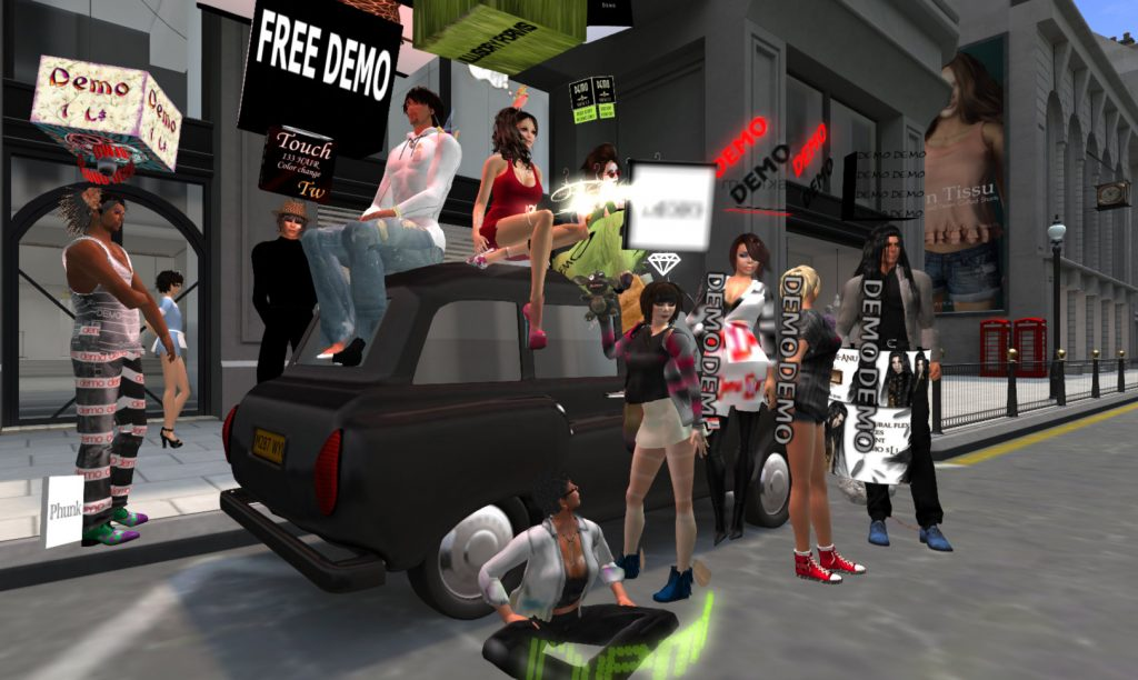 "avatars dressed in wild and eclectic ""demo"" clothing pose around a car in the upscale Mayfair Fashion District"