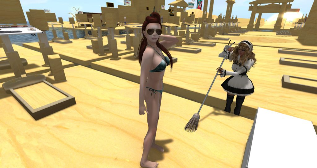 A woman in a bikini watches as a Plywood French Maid sweeps a plywood floor with a plywood broom.